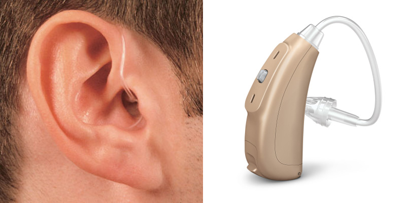Closeup Image of A Hearing Aid & A Man Wearing Hearing Aid.